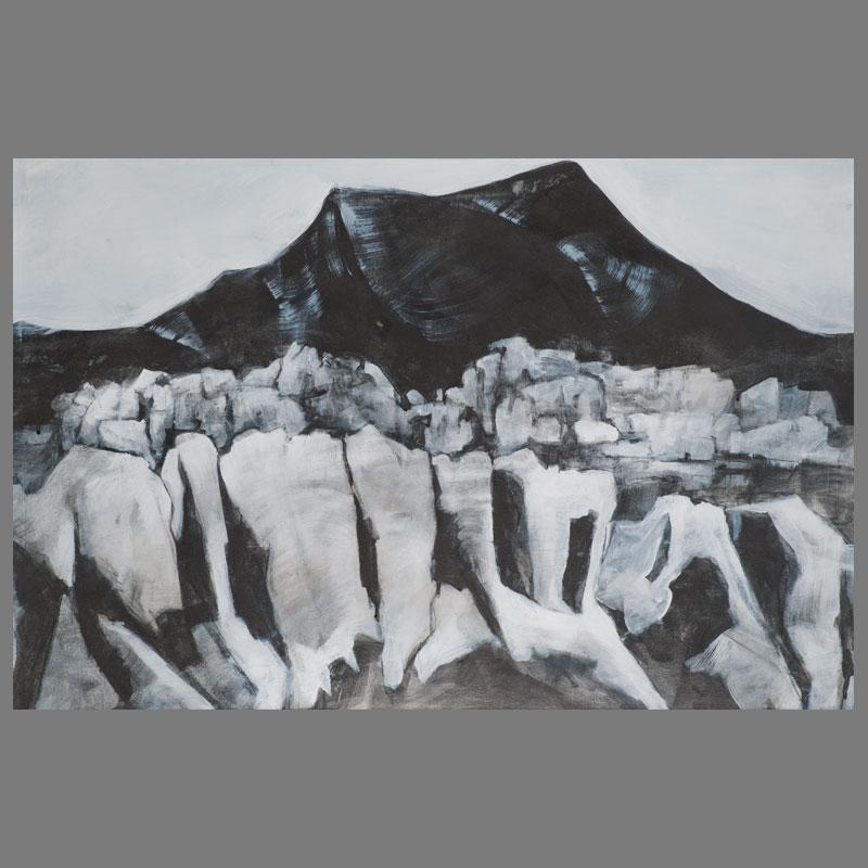 Schwarze-Wand-II-70x100-grafiet-acryl-papier
