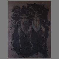 75-100 cm - zand/grafietpoeder/ olieverf/linnen